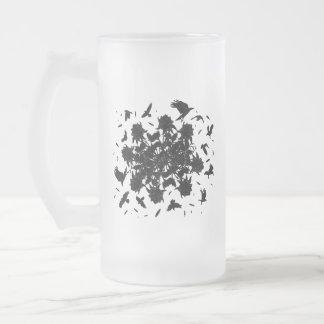 Black roses and ravens frosted glass beer mug