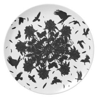 Black roses and ravens plate