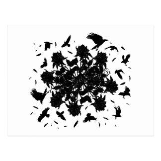 Black roses and ravens postcard