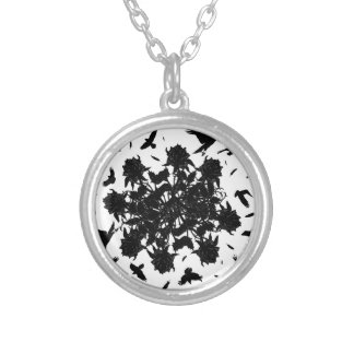 Black roses and ravens silver plated necklace
