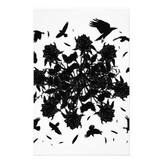 Black roses and ravens stationery