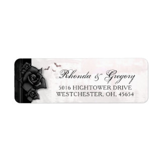 Black Roses Bats Gothic Halloween Wedding Address Return Address Label
