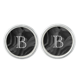 Black roses floral photo cuff links