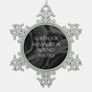 Black roses floral photo snowflake pewter christmas ornament