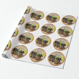 Black Rottweiler cute puppy dogs with sad faces Wrapping Paper