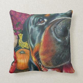 Black Rottweiler Dog Autumn Harvest Pumpkin Art Throw Pillow