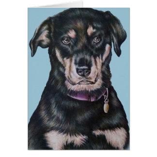 Black Rottweiler Dog Drawing Portrait Card