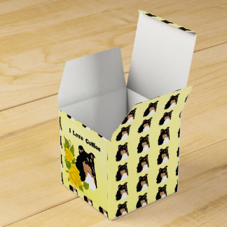 Black Rough Collie and Yellow Roses Favour Boxes