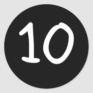 Black Round custom number Sticker