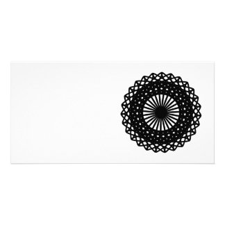 Black Round Lace Style Pattern. Photo Card
