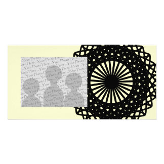 Black Round Lace Style Pattern Picture Card
