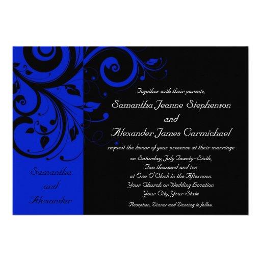Black/Royal Blue Reverse Swirl Wedding Custom Invitation