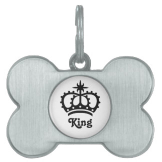 Black Royal Crown With Text King Pet Name Tags