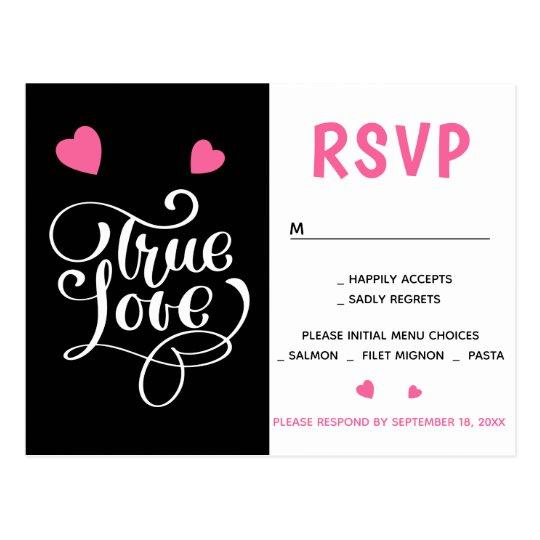 Black RSVP Pink Heart Love Wedding Party Postcard