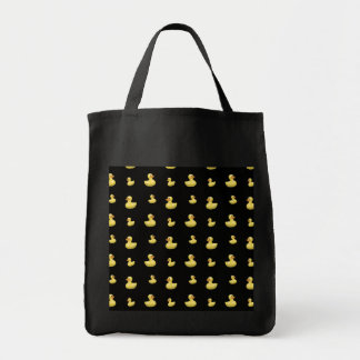 Black rubber duck pattern grocery tote bag