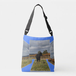 Black Runaway Cow Dimensional Art Frames, Crossbody Bag