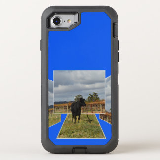 Black Runaway Cow Dimensional Art Frames, OtterBox Defender iPhone 8/7 Case