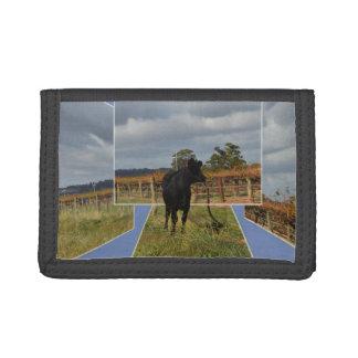 Black Runaway Cow Dimensional Art, Trifold Wallets