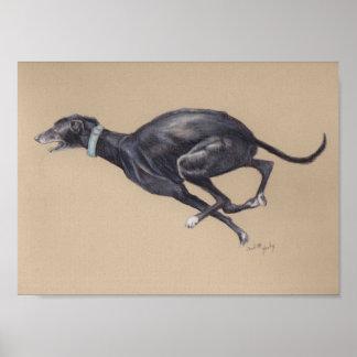Black Running Greyhound Dog Art Print