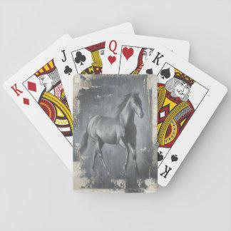 Black Running Stallion Poker Deck