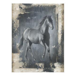 Black Running Stallion Postcard
