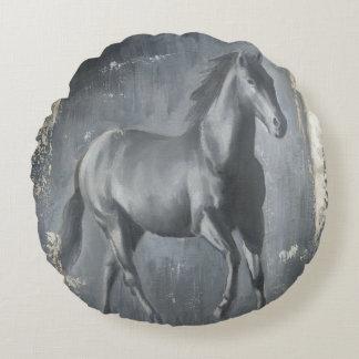 Black Running Stallion Round Cushion