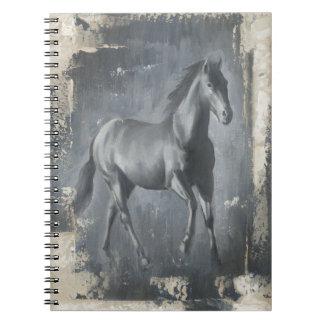 Black Running Stallion Spiral Notebook