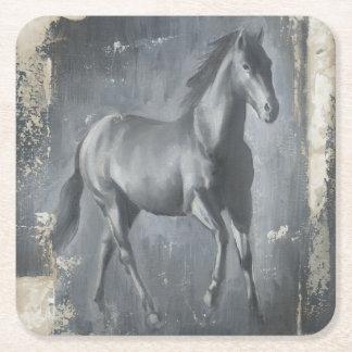 Black Running Stallion Square Paper Coaster