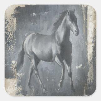 Black Running Stallion Square Sticker