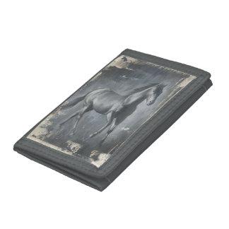 Black Running Stallion Tri-fold Wallets