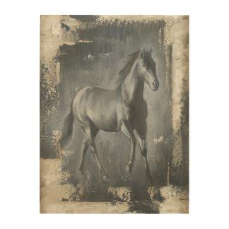 Black Running Stallion Wood Print