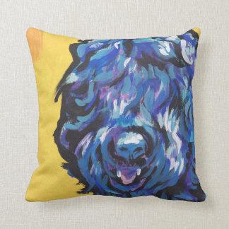 Black Russian Terrier Dog fun bright pop art Cushion
