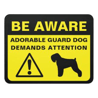Black Russian Terrier Silhouette Guard Dog Warning Door Sign