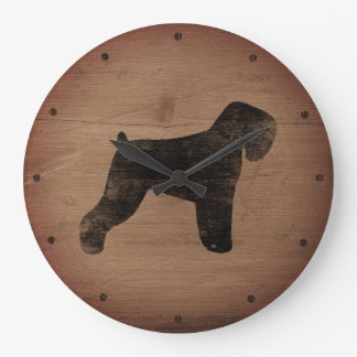 Black Russian Terrier Silhouette Rustic Style Large Clock
