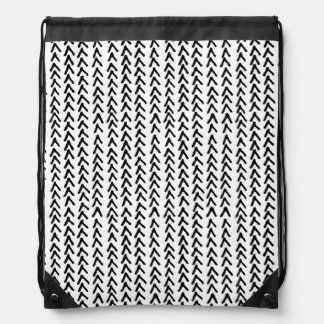 Black Rustic Tribal Pattern Drawstring Bag