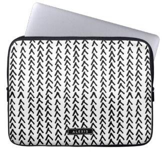 Black Rustic Tribal Pattern Personalized Laptop Laptop Sleeve
