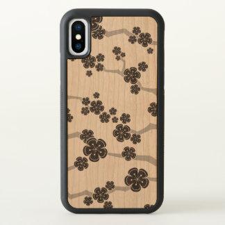 Black Sakura Cherry Blossoms Flowers Oriental Zen iPhone X Case