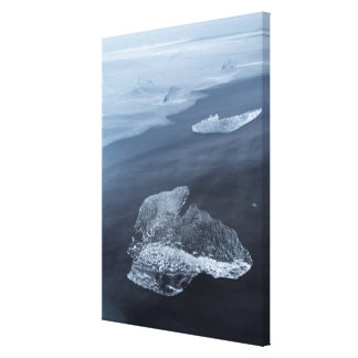 Black sand beach and ice, Iceland Canvas Print