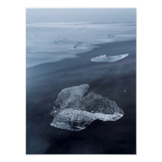 Black sand beach and ice, Iceland Poster