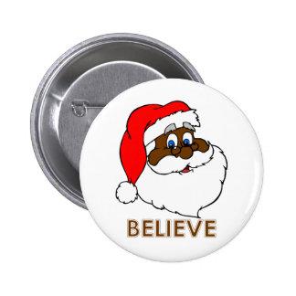 Black Santa 6 Cm Round Badge