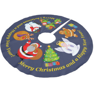 Black Santa Claus and other Christmas characters, Brushed Polyester Tree Skirt