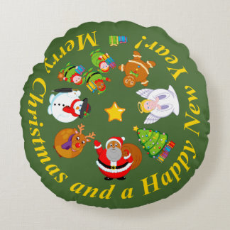 Black Santa Claus and other Christmas characters, Round Cushion
