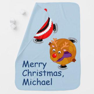 Black Santa Claus and Rudolph ice skating, Baby Blanket