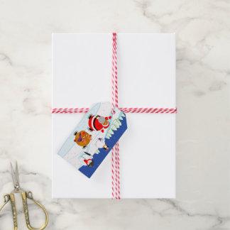 Black Santa Claus and Rudolph ice skating, Gift Tags