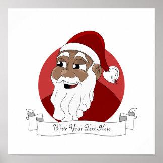 Black Santa Claus Cartoon Poster