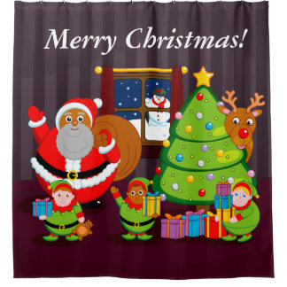 Black Santa Claus delivering Christmas gifts, Shower Curtain