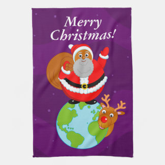 Black Santa Claus delivering Christmas gifts, Tea Towel