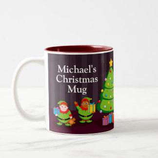 Black Santa Claus delivering Christmas gifts, Two-Tone Coffee Mug