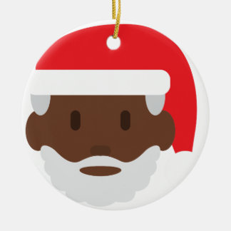 black santa claus emoji ceramic ornament