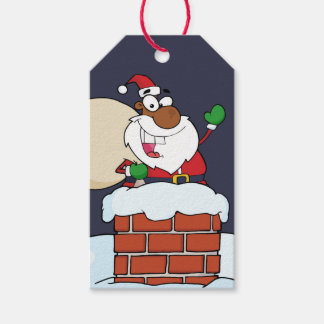 Black Santa Claus in Chimney Paper Gift Tag